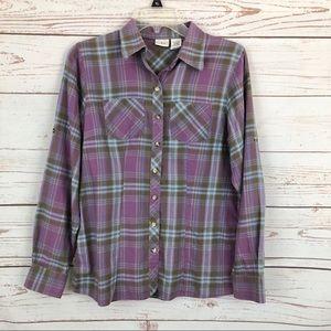 Eddie Bauer Lavender Plaid Button Flannel Shirt